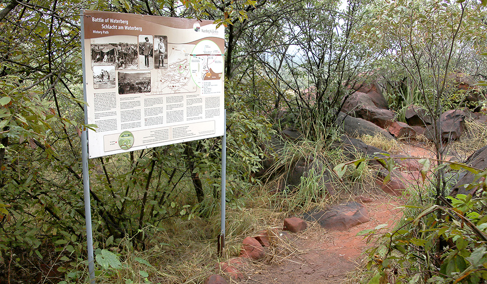 Window into the past: Information board on the History Path of Waterberg Wilderness.